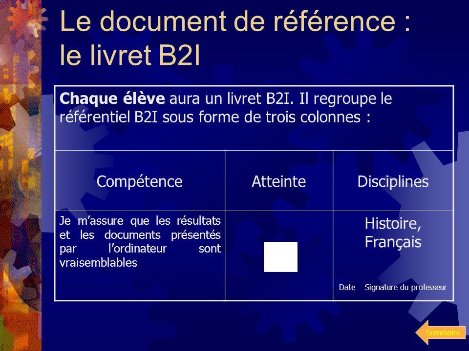 Sommaire B2I – Niveau 2 18 compétences à valider dans 6 domaines : Culture informatique Organiser des traitements numériques à laide dun tableur Produ