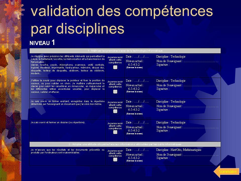 Sommaire Le niveau 1 Présentation du livret de compétences à valider par les différentes disciplines du niveau 6eme