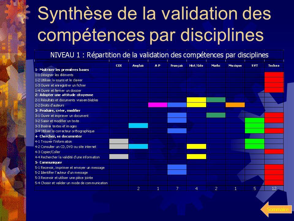 Sommaire validation des compétences par disciplines