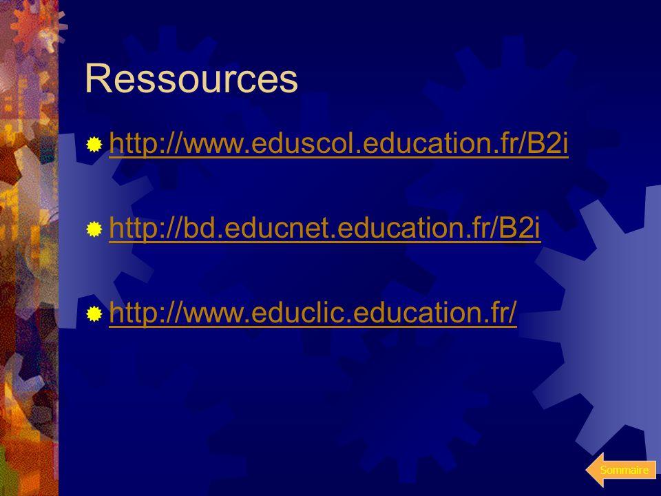 Sommaire Conclusion générale A l'école, au collège et au lycée, le brevet informatique et Internet (B2i) affirme la nécessité de dispenser à chaque fu