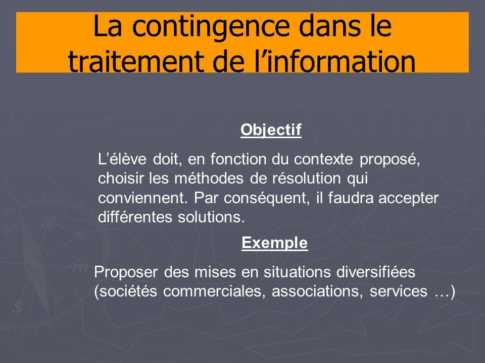 La contingence dans le traitement de linformation Objectif Lélève doit, en fonction du contexte proposé, choisir les méthodes de résolution qui conviennent.