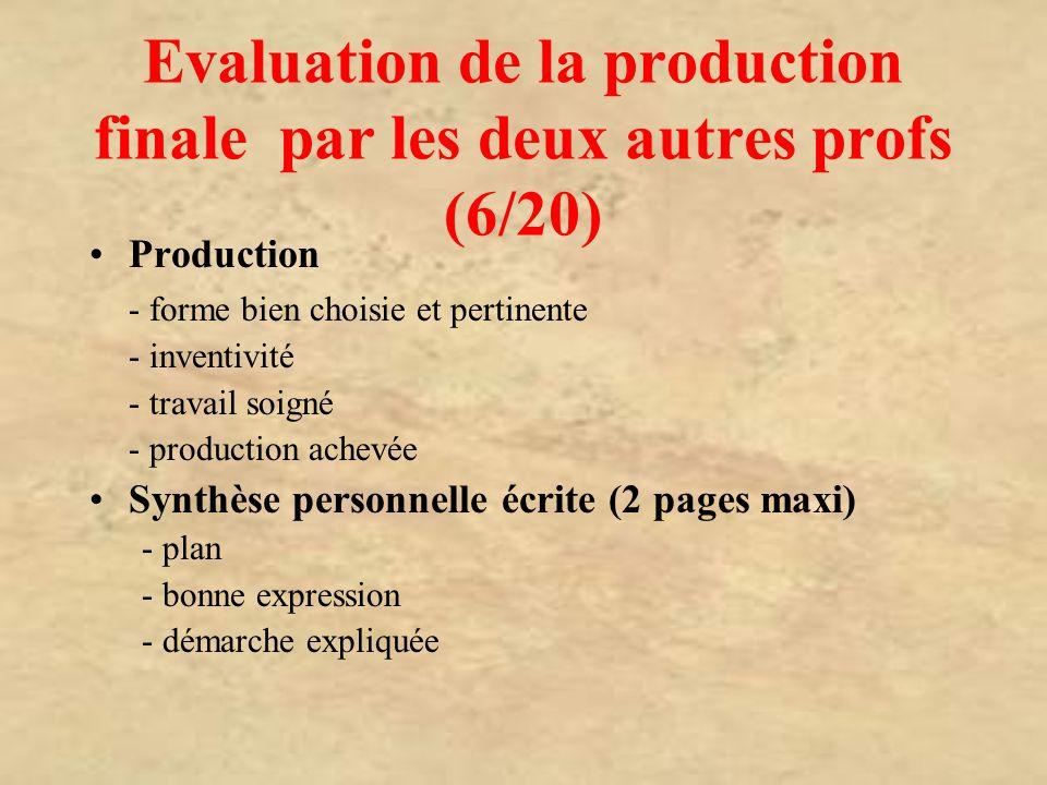 Evaluation de la production finale par les deux autres profs (6/20) Production - forme bien choisie et pertinente - inventivité - travail soigné - pro