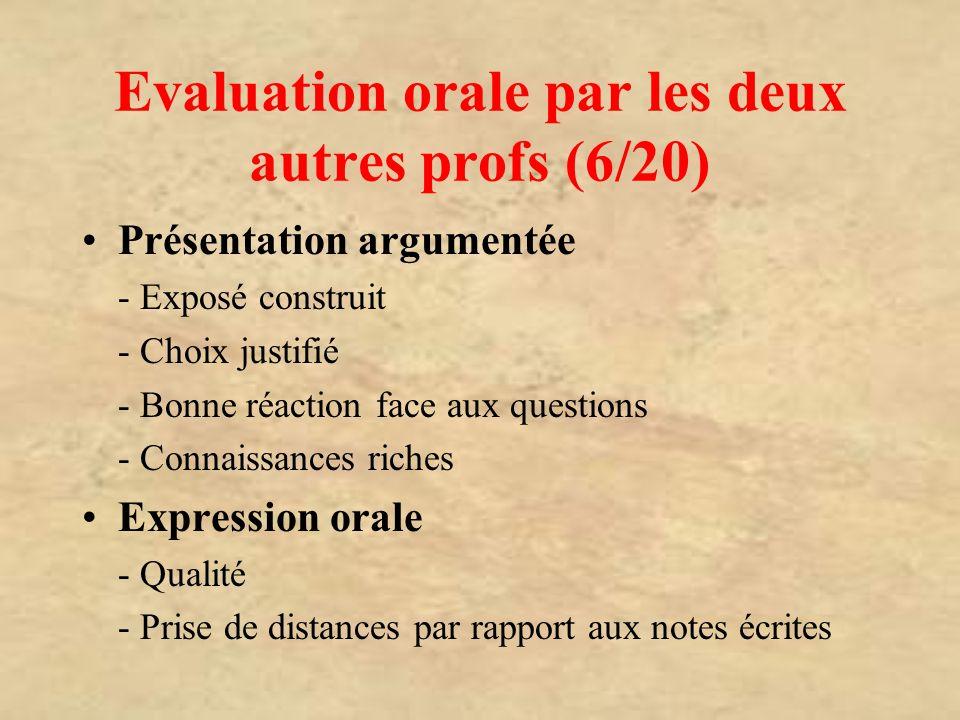 Evaluation orale par les deux autres profs (6/20) Présentation argumentée - Exposé construit - Choix justifié - Bonne réaction face aux questions - Co