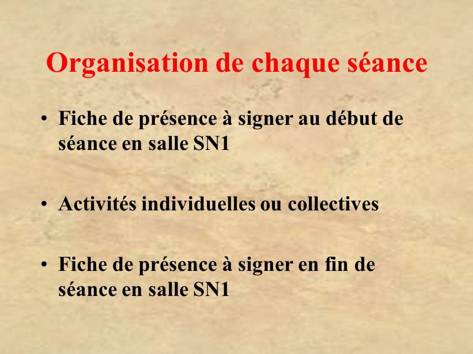 Organisation de chaque séance Fiche de présence à signer au début de séance en salle SN1 Activités individuelles ou collectives Fiche de présence à si