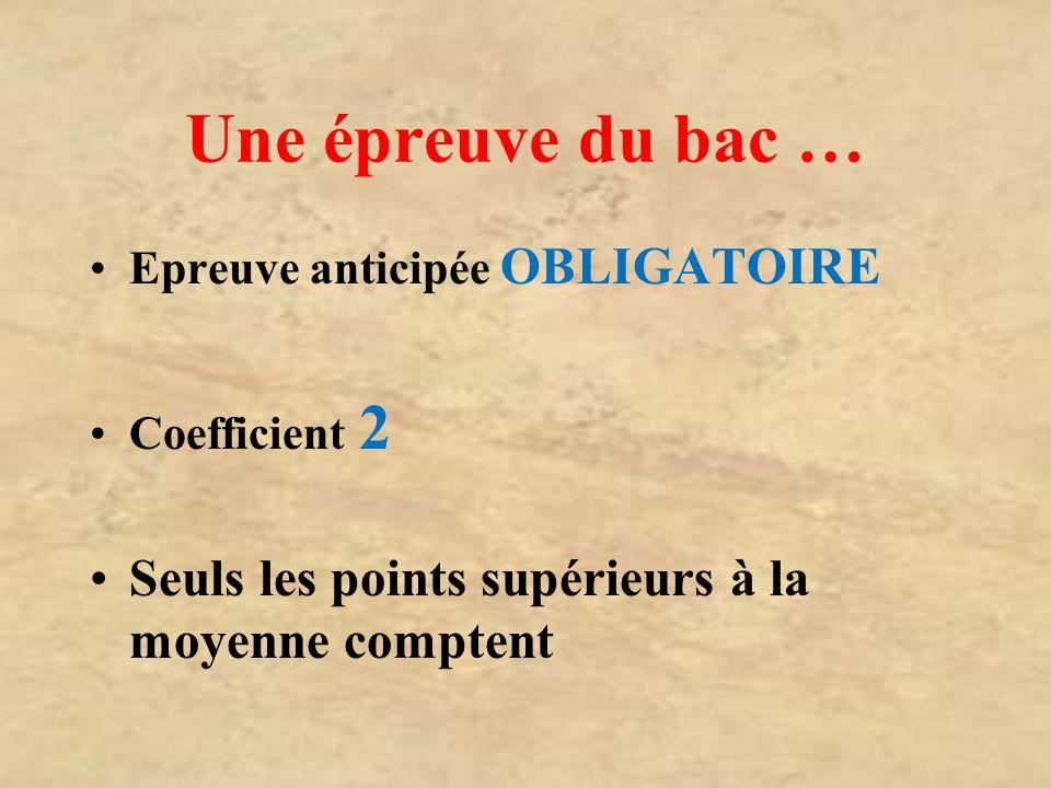 Une épreuve du bac … Epreuve anticipée OBLIGATOIRE Coefficient 2 Seuls les points supérieurs à la moyenne comptent