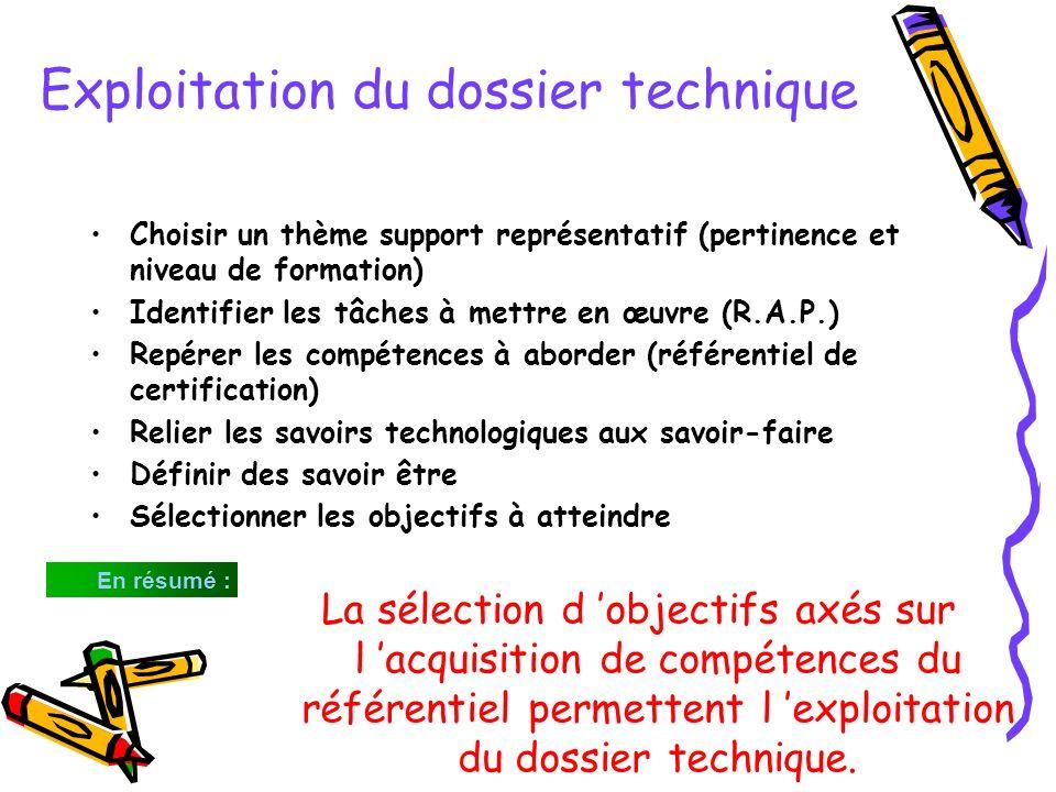 Exploitation du dossier technique Choisir un thème support représentatif (pertinence et niveau de formation) Identifier les tâches à mettre en œuvre (