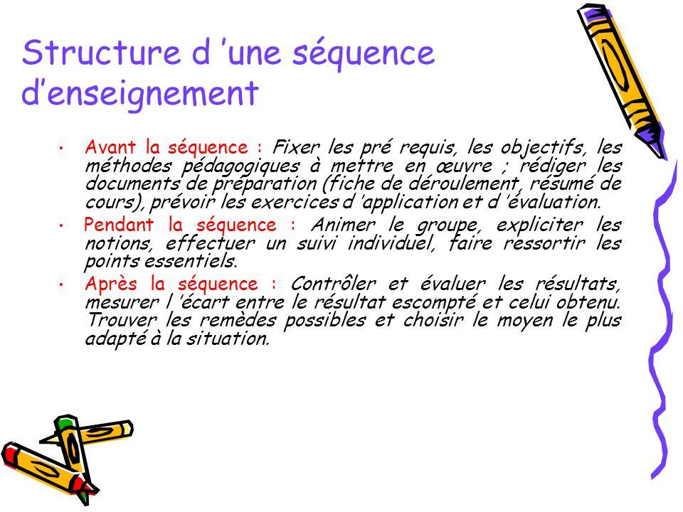 Avant la séquence : Fixer les pré requis, les objectifs, les méthodes pédagogiques à mettre en œuvre ; rédiger les documents de préparation (fiche de