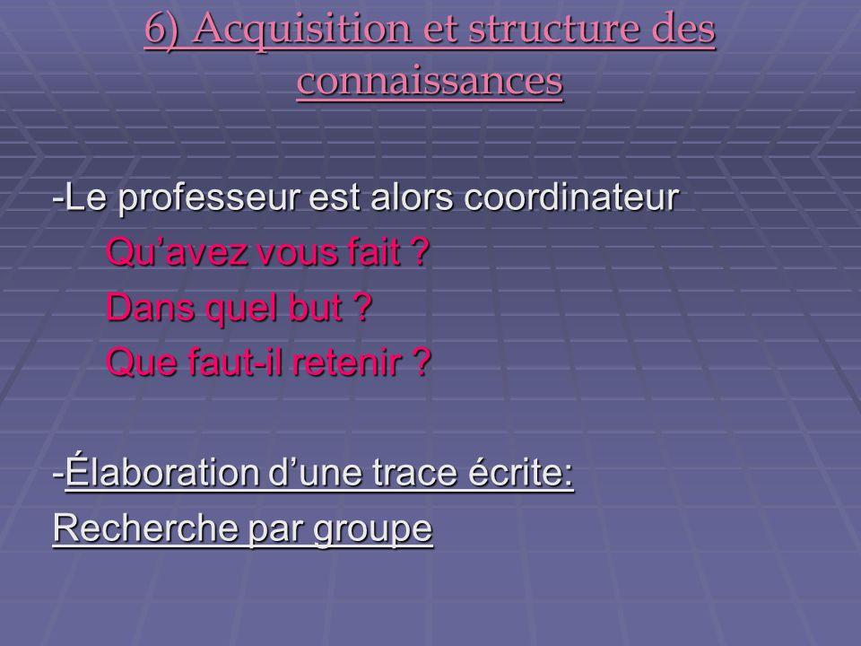 6) Acquisition et structure des connaissances -Le professeur est alors coordinateur Quavez vous fait ? Quavez vous fait ? Dans quel but ? Dans quel bu