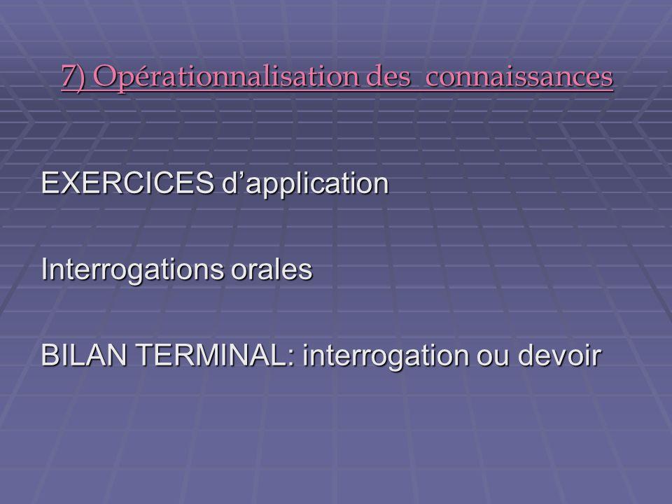 7) Opérationnalisation des connaissances EXERCICES dapplication Interrogations orales BILAN TERMINAL: interrogation ou devoir