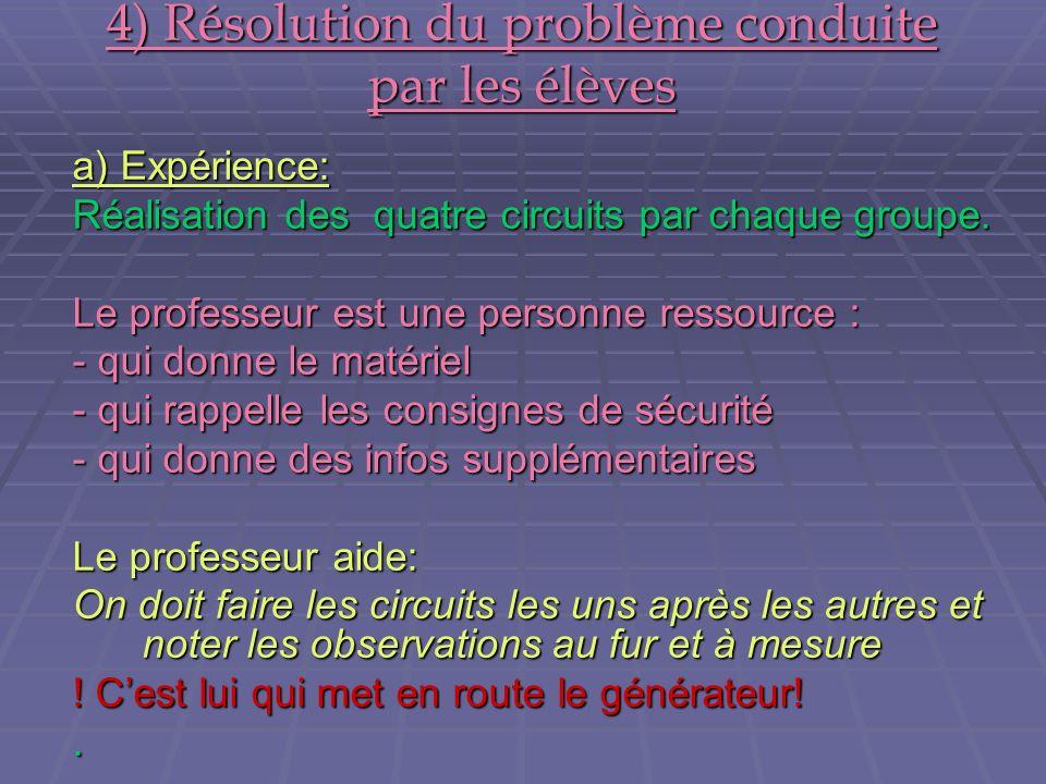 4) Résolution du problème conduite par les élèves a) Expérience: Réalisation des quatre circuits par chaque groupe. Le professeur est une personne res