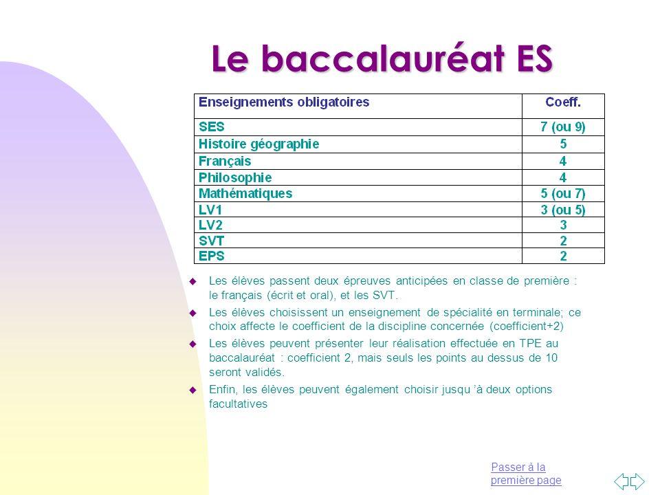 Passer à la première page Le baccalauréat ES u Les élèves passent deux épreuves anticipées en classe de première : le français (écrit et oral), et les