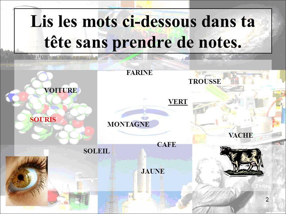 Lis les mots ci-dessous dans ta tête sans prendre de notes. 2 VACHE VOITURE MONTAGNE TROUSSE JAUNE SOLEIL FARINE SOURIS CAFE VERT