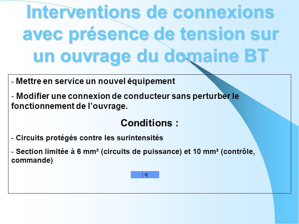 Interventions de connexions avec présence de tension sur un ouvrage du domaine BT - Mettre en service un nouvel équipement - Modifier une connexion de