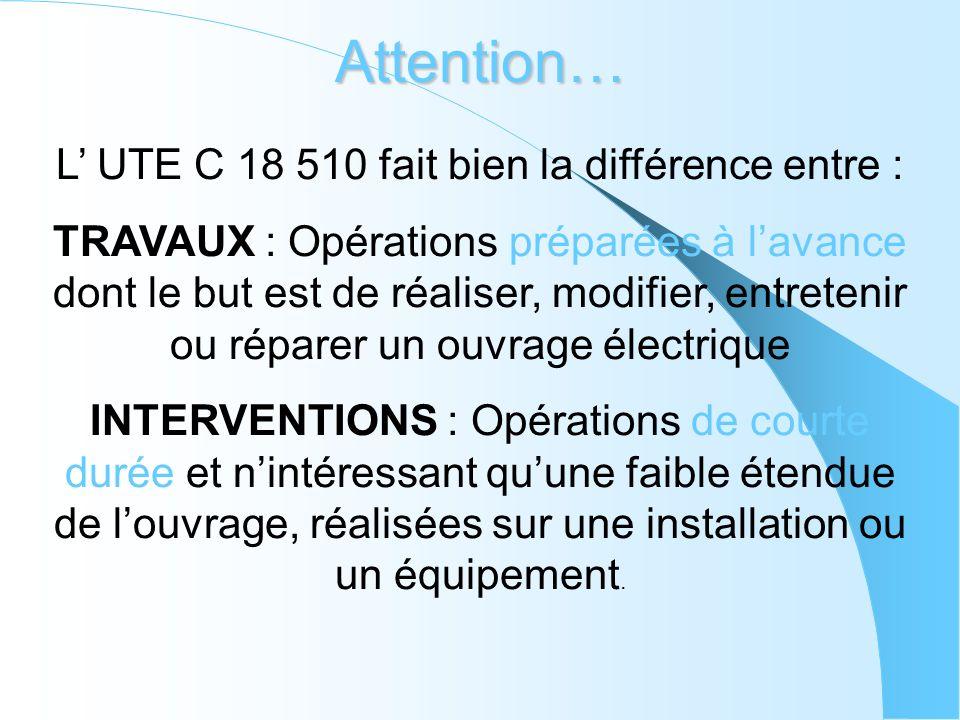 Attention… L UTE C 18 510 fait bien la différence entre : TRAVAUX : Opérations préparées à lavance dont le but est de réaliser, modifier, entretenir o
