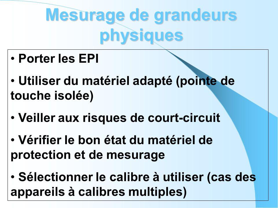 Mesurage de grandeurs physiques Porter les EPI Utiliser du matériel adapté (pointe de touche isolée) Veiller aux risques de court-circuit Vérifier le