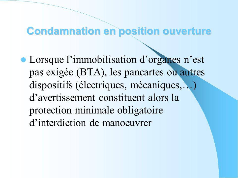 Condamnation en position ouverture Lorsque limmobilisation dorganes nest pas exigée (BTA), les pancartes ou autres dispositifs (électriques, mécanique