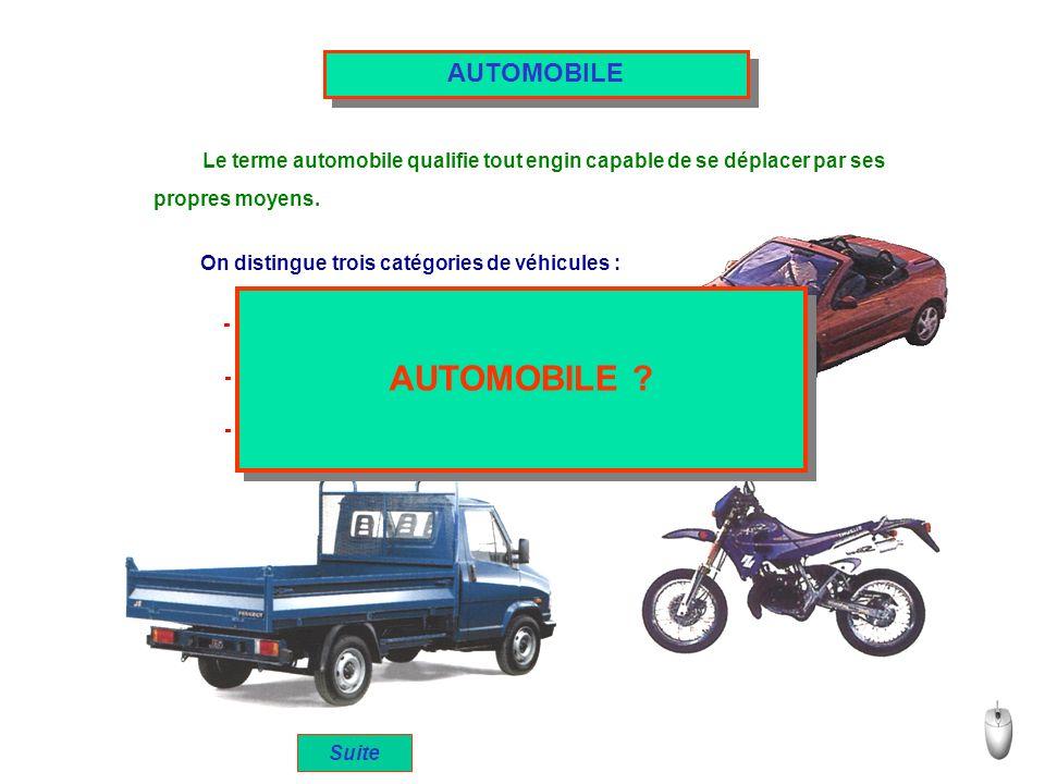 Le terme automobile qualifie tout engin capable de se déplacer par ses propres moyens. On distingue trois catégories de véhicules : - Les véhicules de