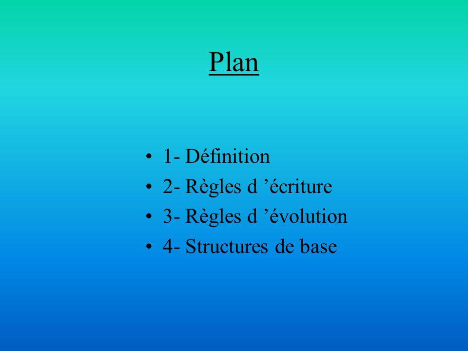Plan 1- Définition 2- Règles d écriture 3- Règles d évolution 4- Structures de base