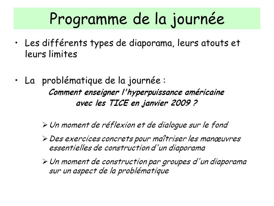 Programme de la journée Les différents types de diaporama, leurs atouts et leurs limites Laproblématique de la journée : Comment enseigner l'hyperpuis
