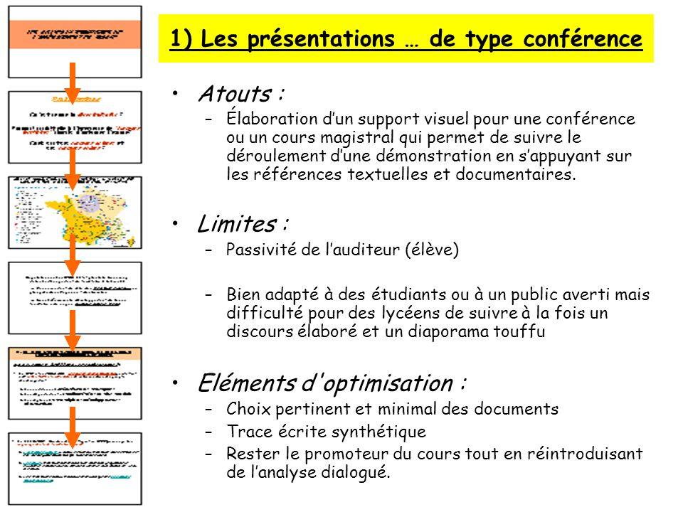 1) Les présentations … de type conférence Atouts : –Élaboration dun support visuel pour une conférence ou un cours magistral qui permet de suivre le d