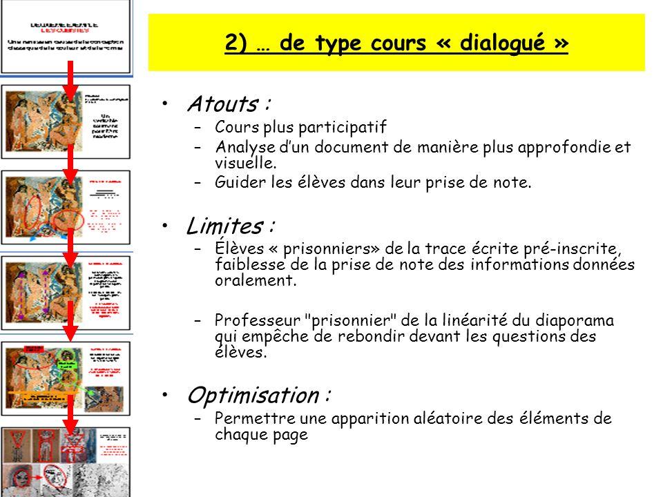 2) … de type cours « dialogué » Atouts : –Cours plus participatif –Analyse dun document de manière plus approfondie et visuelle. –Guider les élèves da