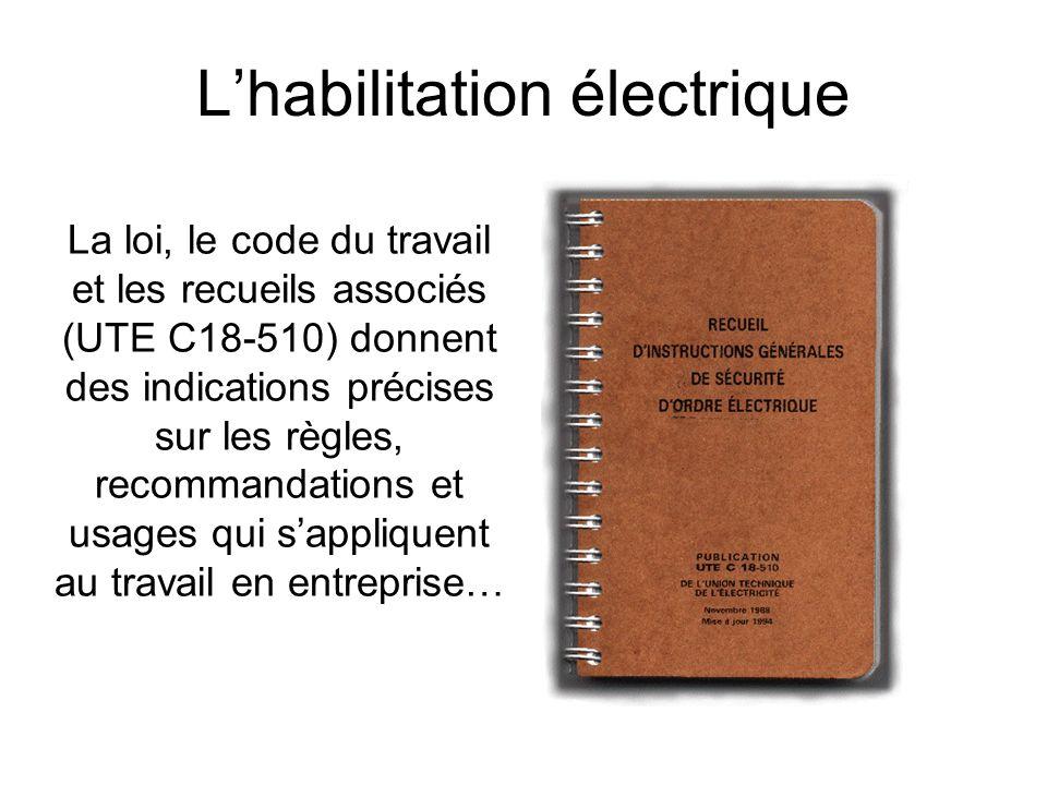La loi, le code du travail et les recueils associés (UTE C18-510) donnent des indications précises sur les règles, recommandations et usages qui sappl