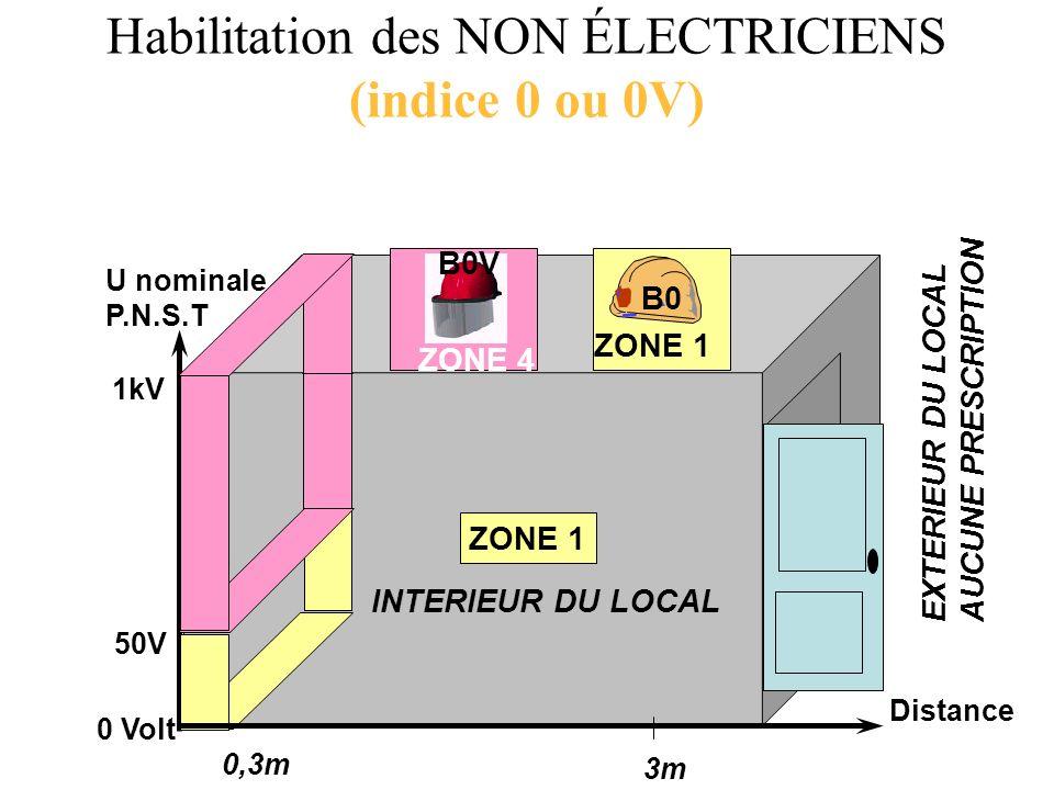 EXTERIEUR DU LOCAL AUCUNE PRESCRIPTION 0,3m 3m Distance ZONE 1 INTERIEUR DU LOCAL 50V 1kV 0 Volt U nominale P.N.S.T ZONE 1 B0 ZONE 4 B0V Habilitation