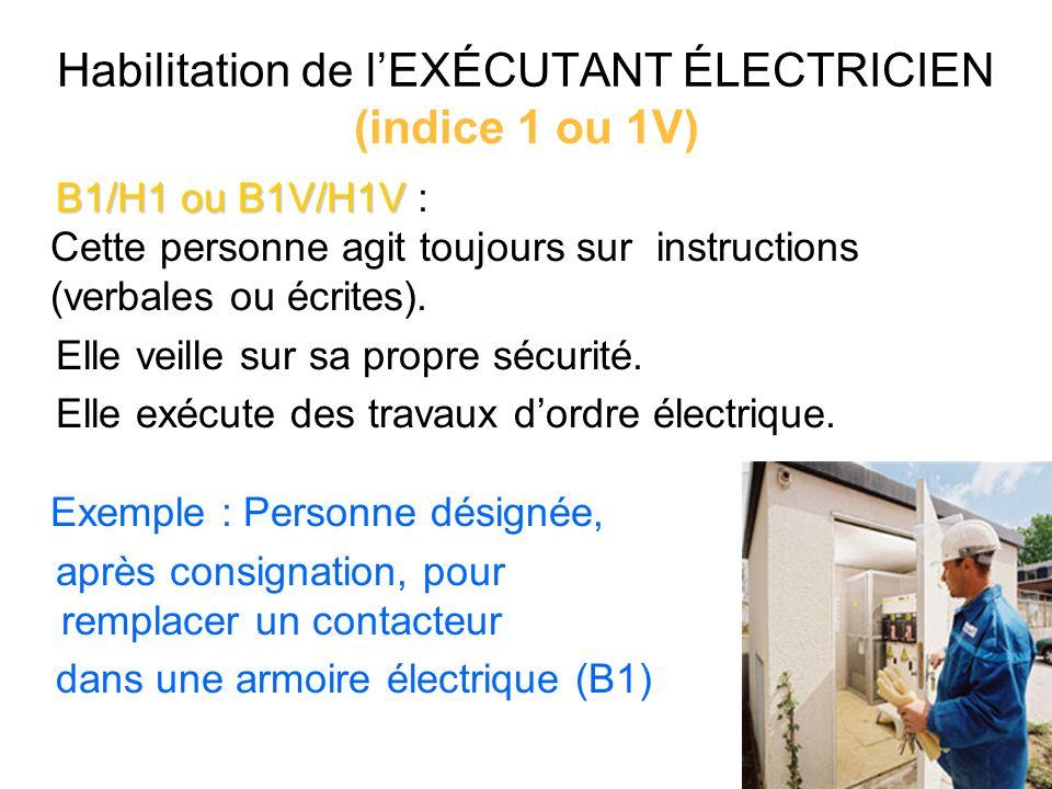 B1/H1 ou B1V/H1V B1/H1 ou B1V/H1V : Cette personne agit toujours sur instructions (verbales ou écrites). Elle veille sur sa propre sécurité. Elle exéc