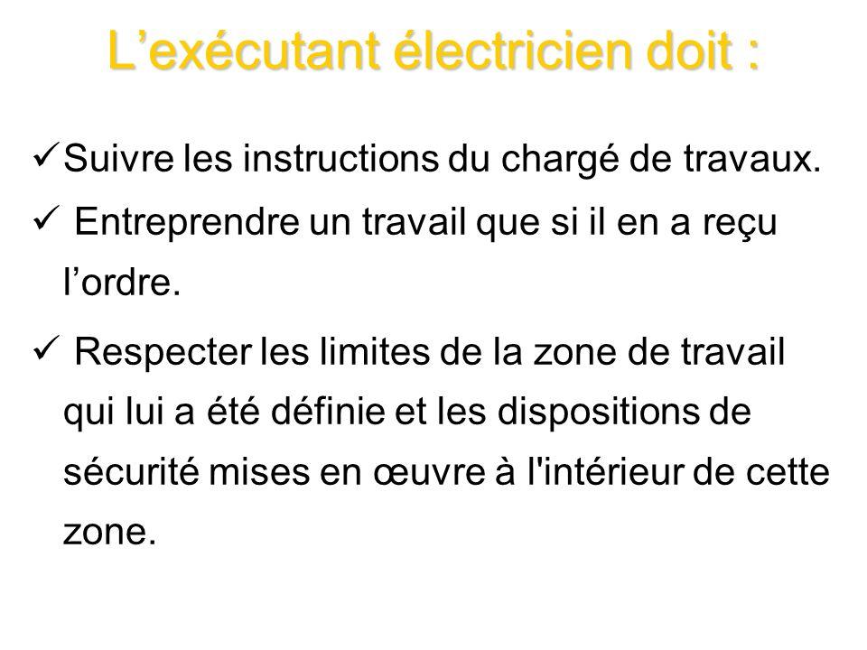 Lexécutant électricien doit : Suivre les instructions du chargé de travaux. Entreprendre un travail que si il en a reçu lordre. Respecter les limites