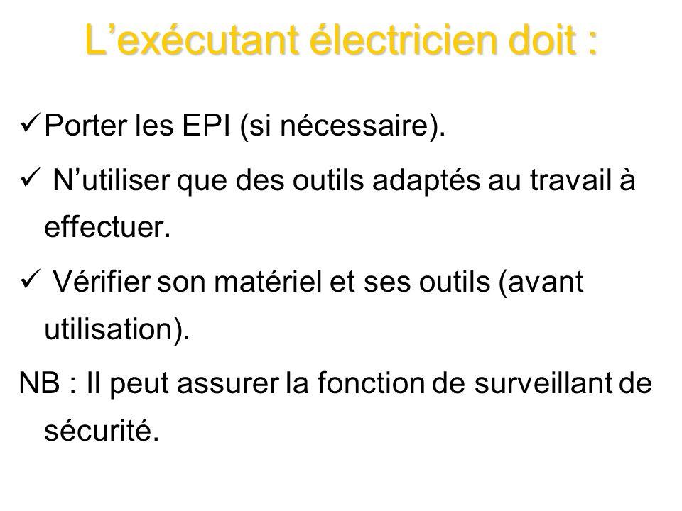 Lexécutant électricien doit : Porter les EPI (si nécessaire). Nutiliser que des outils adaptés au travail à effectuer. Vérifier son matériel et ses ou