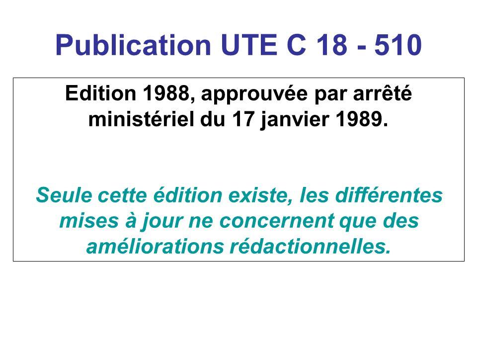 Publication UTE C 18 - 510 Edition 1988, approuvée par arrêté ministériel du 17 janvier 1989. Seule cette édition existe, les différentes mises à jour