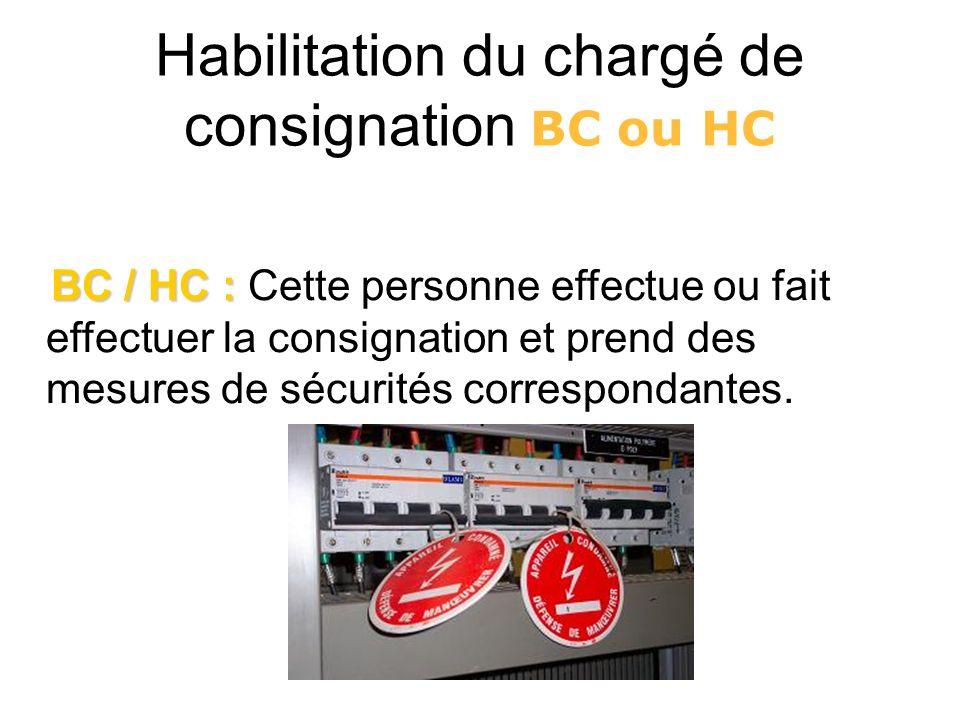 Habilitation du chargé de consignation BC ou HC BC / HC : BC / HC : Cette personne effectue ou fait effectuer la consignation et prend des mesures de