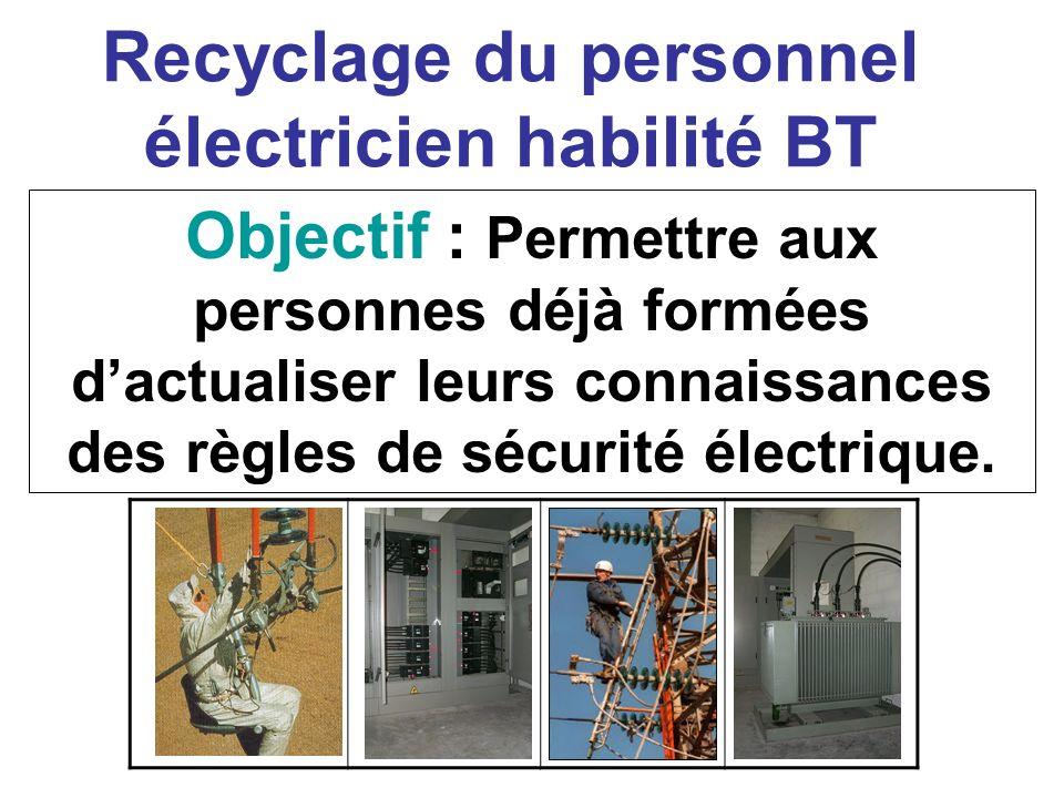 Recyclage du personnel électricien habilité BT Objectif : Permettre aux personnes déjà formées dactualiser leurs connaissances des règles de sécurité