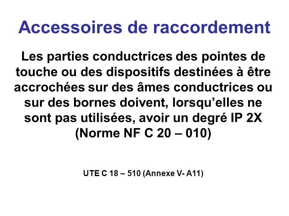 Accessoires de raccordement Les parties conductrices des pointes de touche ou des dispositifs destinées à être accrochées sur des âmes conductrices ou