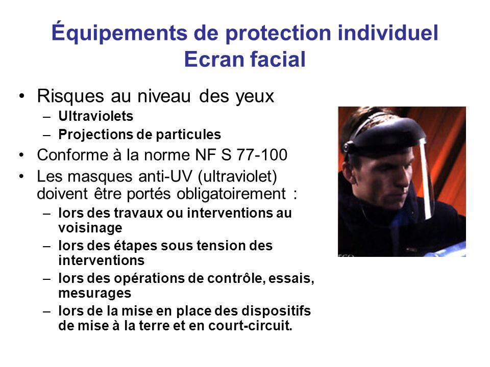 Équipements de protection individuel casque –Il doit être conforme à la norme : NF S 72-202 –Il doit être porté dans les zones où il y a risques : de chute d objet (matériaux) de choc à la tête (obstacle à hauteur d homme) de chute de hauteur (plus de 3 mètres) de contact électrique au niveau de la tête