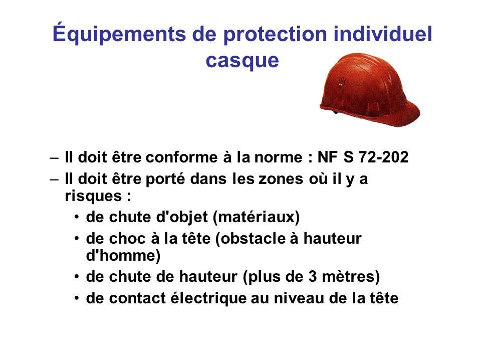 Équipements de protection individuel casque –Il doit être conforme à la norme : NF S 72-202 –Il doit être porté dans les zones où il y a risques : de