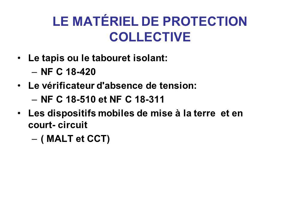 LE MATÉRIEL DE PROTECTION COLLECTIVE Le tapis ou le tabouret isolant: –NF C 18-420 Le vérificateur d'absence de tension: –NF C 18-510 et NF C 18-311 L