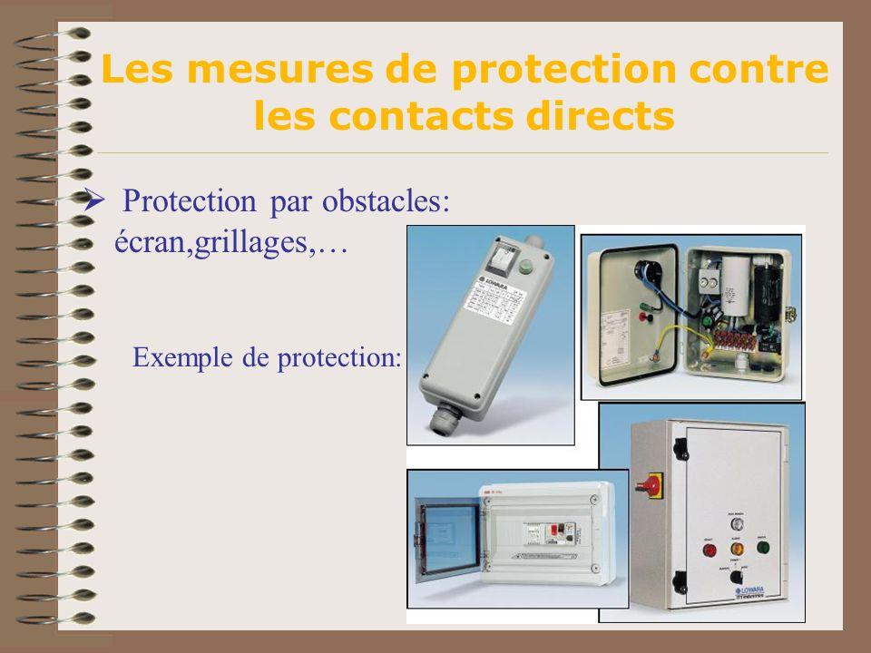 Les mesures de protection contre les contacts directs Protection par obstacles: écran,grillages,… Exemple de protection: