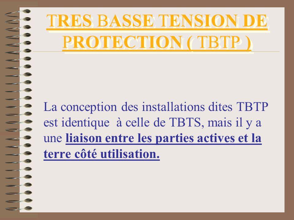 TRES BASSE TENSION DE PROTECTION ( TBTP ) La conception des installations dites TBTP est identique à celle de TBTS, mais il y a une liaison entre les