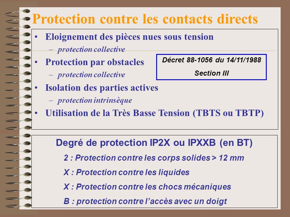 Protection contre les contacts directs Eloignement des pièces nues sous tension –protection collective Protection par obstacles –protection collective