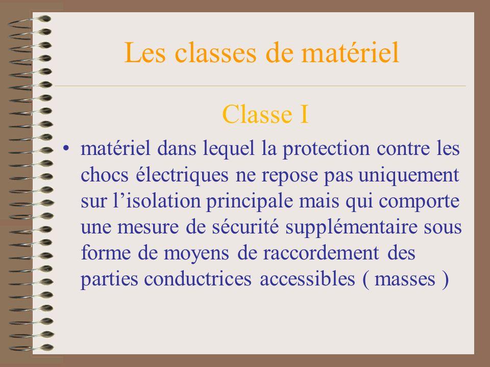 Les classes de matériel Classe I matériel dans lequel la protection contre les chocs électriques ne repose pas uniquement sur lisolation principale ma
