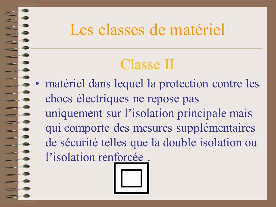 Les classes de matériel Classe II matériel dans lequel la protection contre les chocs électriques ne repose pas uniquement sur lisolation principale m