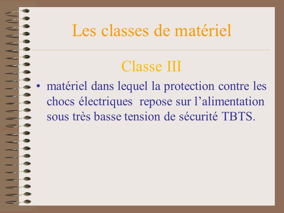 Les classes de matériel Classe III matériel dans lequel la protection contre les chocs électriques repose sur lalimentation sous très basse tension de