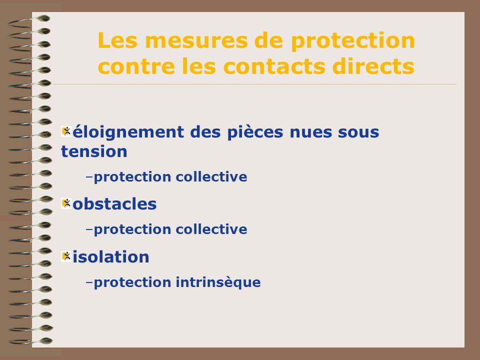 éloignement des pièces nues sous tension –protection collective obstacles –protection collective isolation –protection intrinsèque Les mesures de prot