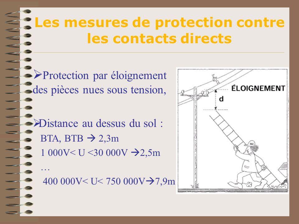 Protection par éloignement des pièces nues sous tension, Distance au dessus du sol : BTA, BTB 2,3m 1 000V< U <30 000V 2,5m … 400 000V< U< 750 000V 7,9