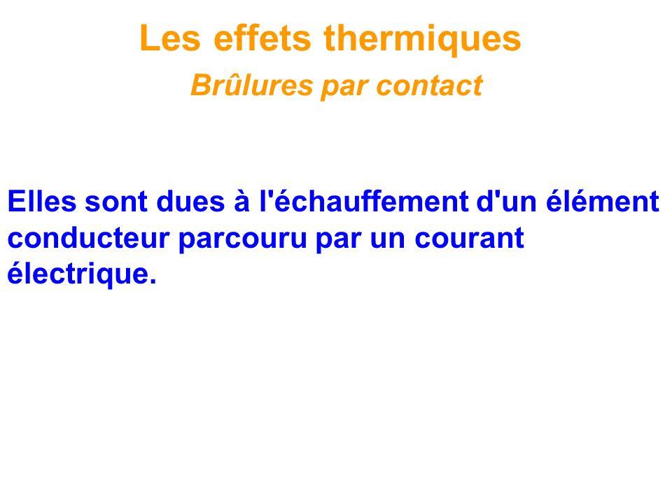 Elles sont dues à l'échauffement d'un élément conducteur parcouru par un courant électrique. Les effets thermiques Brûlures par contact