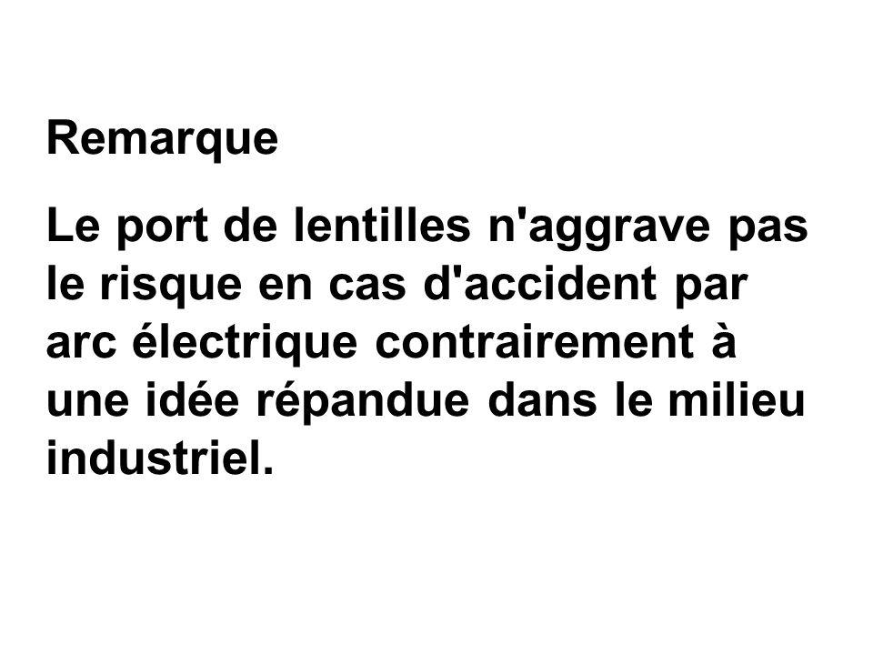 Remarque Le port de lentilles n'aggrave pas le risque en cas d'accident par arc électrique contrairement à une idée répandue dans le milieu industriel