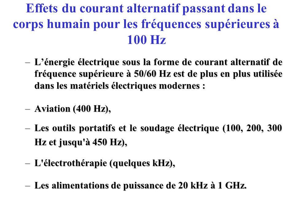 Effets du courant alternatif passant dans le corps humain pour les fréquences supérieures à 100 Hz –Lénergie électrique sous la forme de courant alter