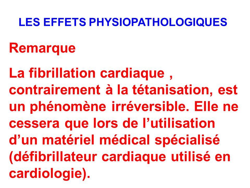 Remarque La fibrillation cardiaque, contrairement à la tétanisation, est un phénomène irréversible. Elle ne cessera que lors de lutilisation dun matér