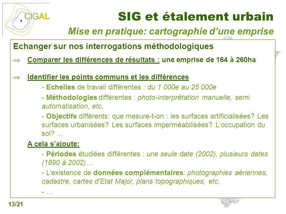Présentation CIGAL - 5 décembre 2006 SIG et étalement urbain 13/21 Echanger sur nos interrogations méthodologiques Comparer les différences de résulta